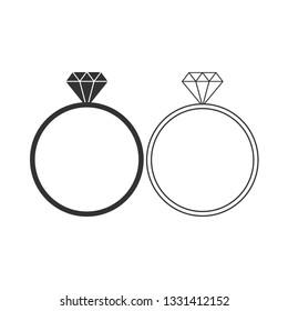 Diamond ring icon. Vector illustration, flat design.
