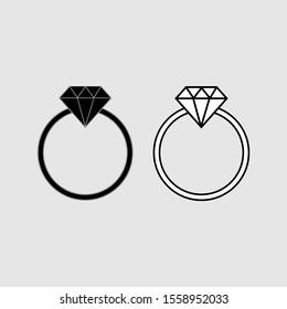 Diamond Ring icon vector isolated