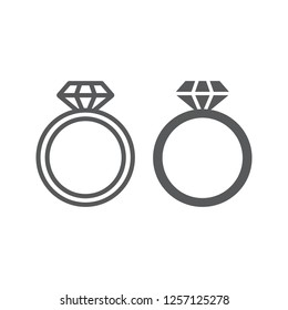 Diamond ring line and glyph icon, jewelry and marriage, brilliant ring sign, vector graphics, a linear pattern on a white background.