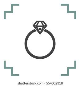 Diamond Ring vector icon. Bride and groom sign. Wedding symbol