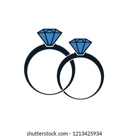 Diamond ring wedding icon logo template
