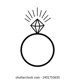 Diamond ring. Wedding ring. Valentine's Day. Declaration of love. Vector hand drawn illustration. For greeting card, sticker, holiday design, poster, flyer.