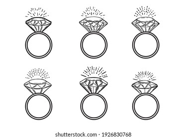Diamond rings, Hand drawn style,  vector illustration.