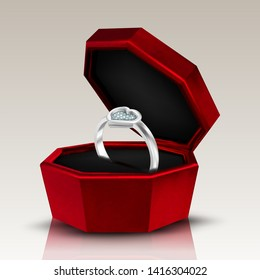 Diamond In Shape Of Heart Form On Ring Vector. Romantic Present Gift In Red Box For Loving Woman Ring With Engraved Gemstone On Anniversary Wedding Day. Jewelry Accessory Realistic 3d Illustration
