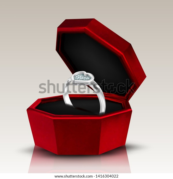 Diamond Shape Heart Form On Ring Stock Vector Royalty Free
