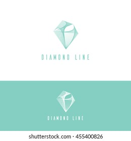 Diamond shape idea with vector linear wire connection structure. Creative vector logo. Futuristic jewelry diamond logo template, abstract linear design.