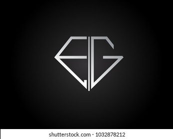 EG diamond shape silver color design