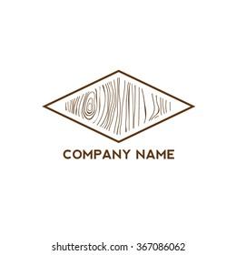 Diamond shape with wooden texture,Logo design,Vector illustration