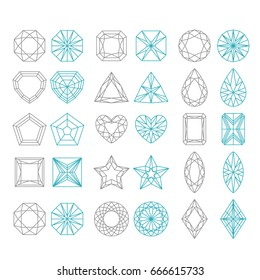 Diamond Shapes Set. Vector geometric icons of gemstone cut isolated on white background