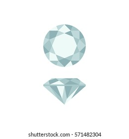 Diamond simple illustration in top and side views.