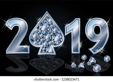 Diamond spade Happy New 2019 Year, vector illustration