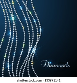 Diamond sparkling beads - eps10 background. Luxury design template.