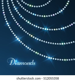 Diamond sparkling beads jewellery background - eps10