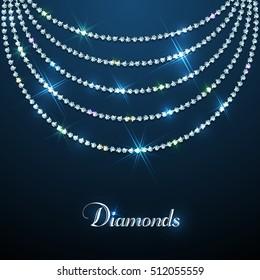 Diamond sparkling beads jewellery background. Vector eps10 illustration. Luxury design template.