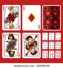 Diamond Suit Playing Cards Full Set, include King Queen Jack and Ace
