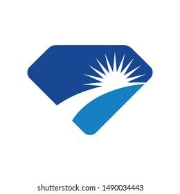 Diamond and Sun Light Vector Logo. Icon and Symbol. Eps 10.