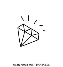 Diamond symbol. Linear doodle style. Vector on isolated white background. For printing on cards, invitations, tattoos, fashion design