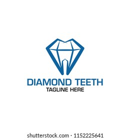 diamond teeth - dental logo template