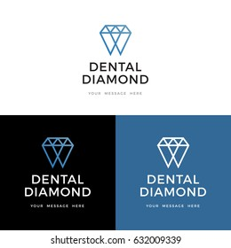 Diamond teeth logo, label, icon design.Vector illustration.