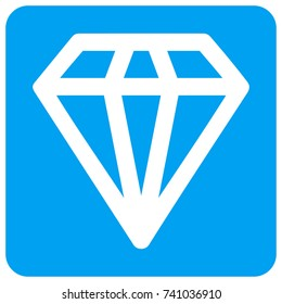 Diamond vector icon. Image style is a flat icon symbol perforated in a blue rounded square shape.