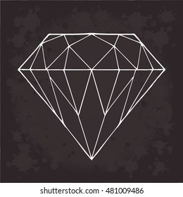 Diamond vector on a black background. Object isolated geometric illustration. Doodle style. Cloth, print, design, icon, logo, poster, textile, paper, card, invitation, holiday. Color magic art. Eps10.