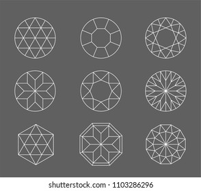 Diamond. Vector set of gems drawing line. Crystal forms. Geometric shapes of precious stones. Jewelry outline contour. Geometry figures. Diamond design elements.