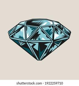 Diamond vintage tattoo element. Jewel, gem, gemstone vector illustration. Tattoo studio concept for symbols and emblems templates