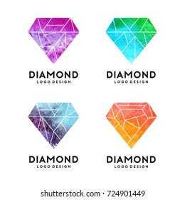 Diamond With Watercolor Texture Logo Template