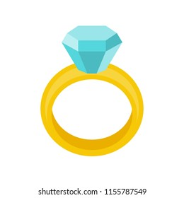 diamond wedding ring, jewelry related icon, flat design