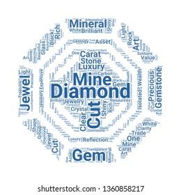 diamond word cloud. tag cloud about diamond.