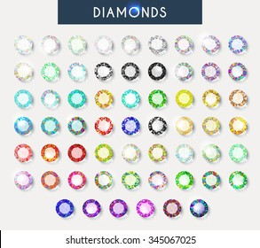 Diamonds big set of 60 realistic isolated crystals with light reflection and shadow in different colors. Natural gemstones.