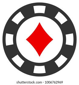 Diamonds Casino Chip flat vector icon. An isolated icon on a white background.