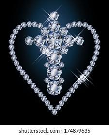 Diamonds cross and heart, vector illustration