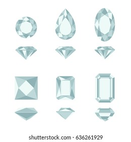 Diamonds cut simple illustration in top and side views. Vector gemstone shapes.