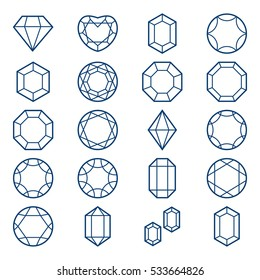 Diamonds and Gems Icons set, design elements.Set of isolated gem stones and thin line design elements.