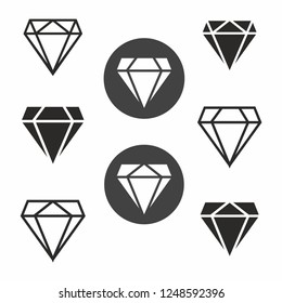 Diamonds icon set flat design. Vector