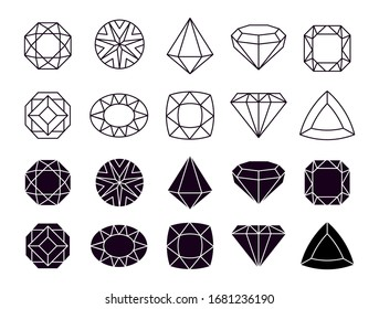 Diamonds icons. Geometric jewelry symbols, shapes luxury brilliants. Isolated line and silhouette gemstone vector set