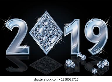 Diamonds poker Happy New 2019 Year, vector illustration