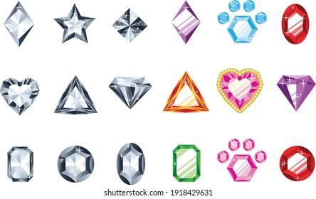 Diamonds, and precious gemstones icon vector graphic elements