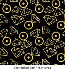 Diamonds rings seamless pattern. Vector girly background in gold color. Fashion wrapping or fabric pattern