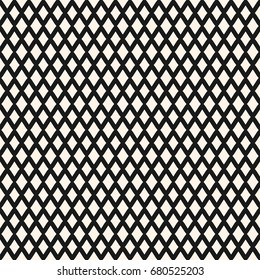 Diamonds seamless pattern. Small vector rhombuses geometric texture. Simple abstract monochrome background with intersecting lines, lattice, mesh. Repeat design for textile, decor, bedding, package