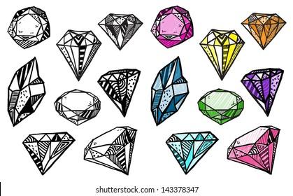 Diamonds. Set of doodle crystals.