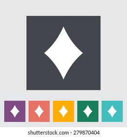 Diamonds suit. Single flat icon on the button. Vector illustration.