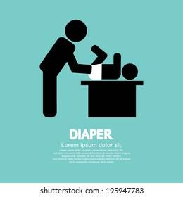 Diaper Changing Graphic Symbol Vector Illustration