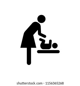 Diaper changing station room symbol icon. Baby changing room black vector sign.
