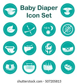 Diaper characteristics icons. Natural extracts, slim, antibacterial, wetness indicator, stretch sides, restick tapes, eco friendly, leak barries, super absorbent, elastic waist, breathable, soft, dry.