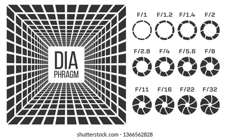Diaphragm, Lens Aperture Vector Monochrome Banner Template. Diaphragms With F Numbers Icons Set. Camera Shutter Isolated Cliparts Pack. Photography Equipment Focusing 3D Realistic Illustration