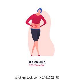Diarrhea or digestive problem vector icon. Sick girl sign. Editable illustration in modern flat style. Medical, healthcare, food poisoning concept in bright magenta, blue, grey, pink colors.