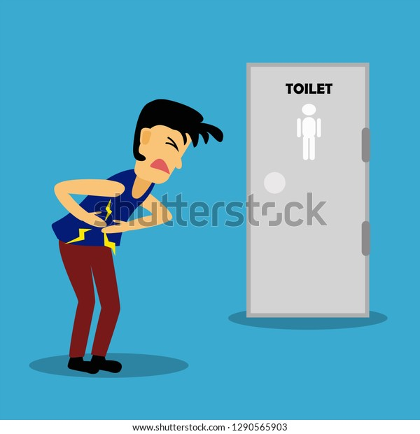 Diarrhea Food Poisoning Concept Person Get Stock Vector