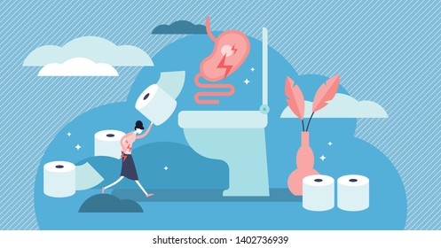 Diarrhea vector illustration. Flat tiny stomach problems persons concept. Abstract infection adornment virus and viral gastroenteritis tract problem. Medical disease with digestive microbes symptoms.